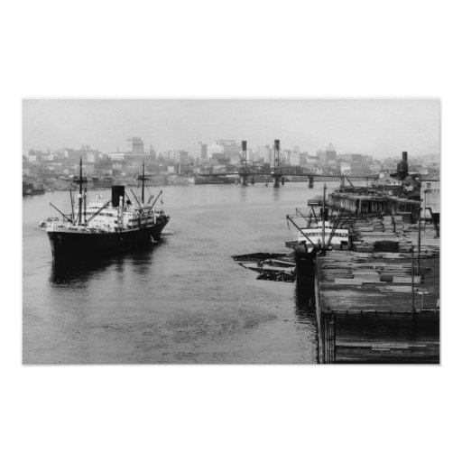 Portland, OR View Lumber Wharf and Ocean Liner Poster