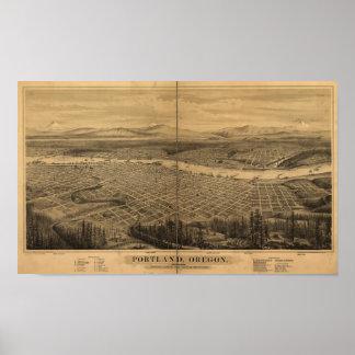 Portland Oregon 1879 Antique Panoramic Map Poster