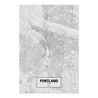Portland, Oregon (black on white) Poster