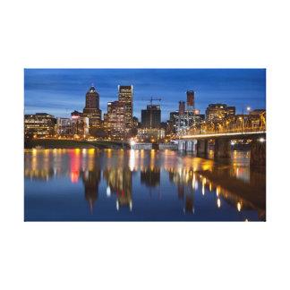 Portland Oregon Blue Hour Stretched Canvas Print