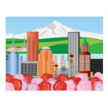 Portland Oregon Cityscape with Mount Hood and Rose