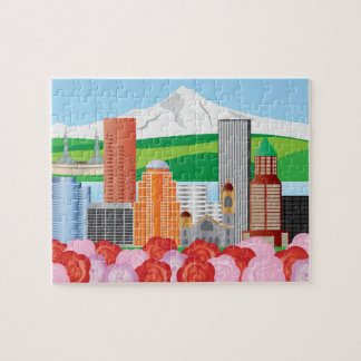 Portland Oregon Cityscape with Mount Hood and Rose Jigsaw Puzzle