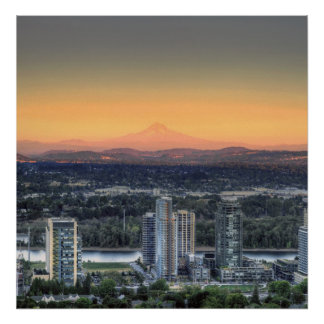 Portland Oregon Mount Hood South Waterfront Poster