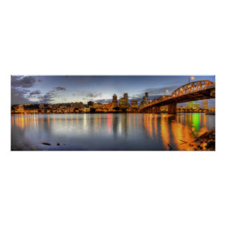 Portland Oregon Night Skyline Reflection Poster