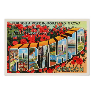 Portland Oregon OR Old Vintage Travel Souvenir Poster
