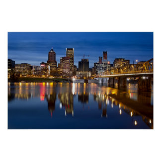 Portland Oregon Skyline at Blue Hour Poster