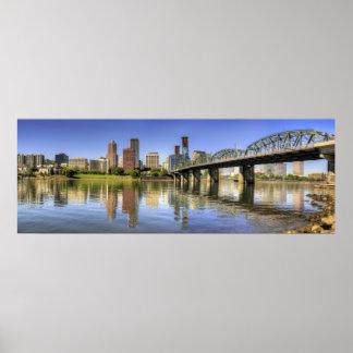 Portland Oregon Skyline Water Reflection Poster
