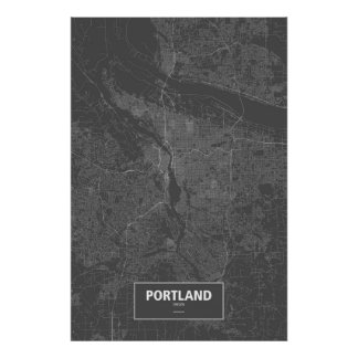 Portland, Oregon (white on black) Poster