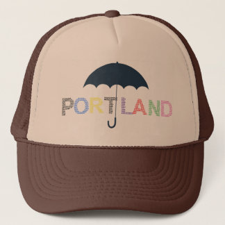 Portland Rain Weather Brown Tan Baseball Cap Hat