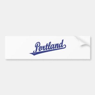 Portland script logo in blue bumper sticker