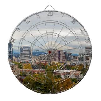 Portland Skyline and Mount Hood in Fall Season Dartboard
