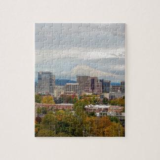 Portland Skyline and Mount Hood in Fall Season Jigsaw Puzzle