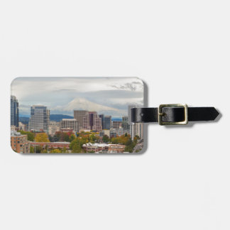 Portland Skyline and Mount Hood in Fall Season Luggage Tag