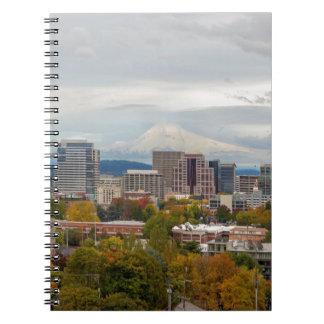 Portland Skyline and Mount Hood in Fall Season Notebook