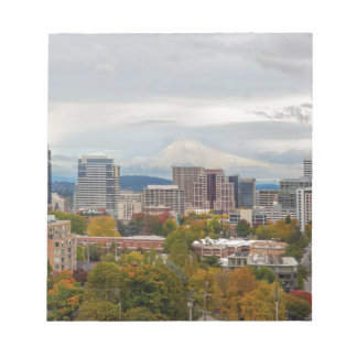 Portland Skyline and Mount Hood in Fall Season Notepad