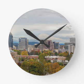 Portland Skyline and Mount Hood in Fall Season Round Clock