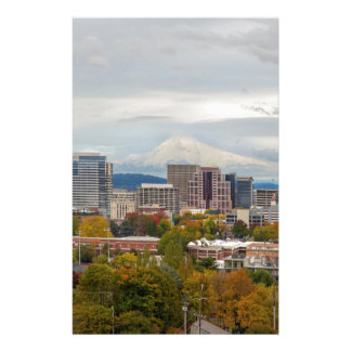 Portland Skyline and Mount Hood in Fall Season Stationery
