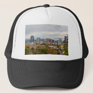 Portland Skyline and Mount Hood in Fall Season Trucker Hat