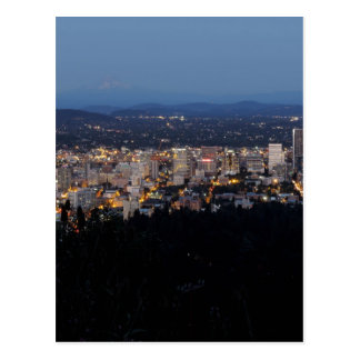 Portland Skyline at Dusk Postcard