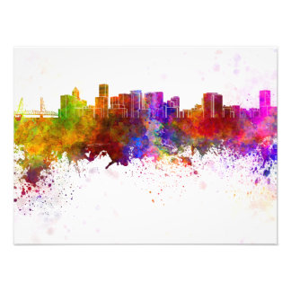 Portland skyline in watercolor background photo print