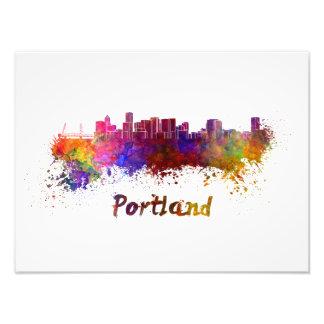 Portland skyline in watercolor photo print