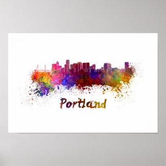 Portland skyline in watercolor poster