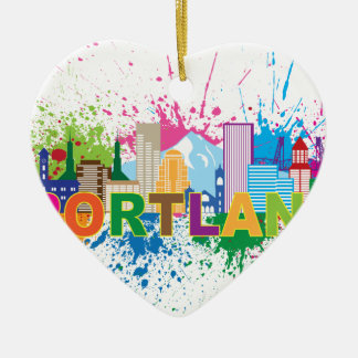 Portland Skyline Paint Splatter Illustration Ceramic Heart Decoration