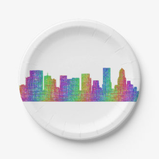 Portland skyline paper plate