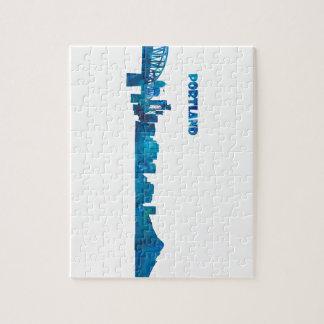 Portland Skyline Silhouette Jigsaw Puzzle