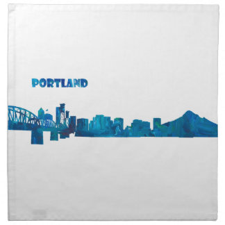 Portland Skyline Silhouette Napkin