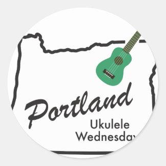 Portland Ukulele Wednesdays Classic Round Sticker