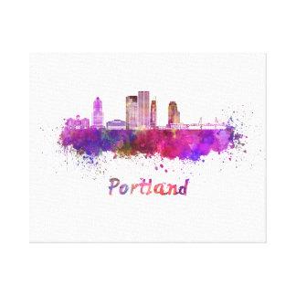 Portland V2 skyline in watercolor Canvas Print