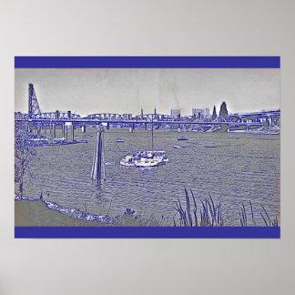 Portland Waterfront Sketch Poster
