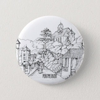 Portmeirion North Wales Pen and Ink Sketch 6 Cm Round Badge
