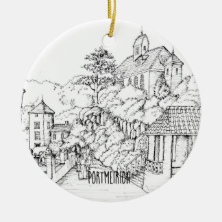 Portmeirion North Wales Pen and Ink Sketch Ceramic Ornament