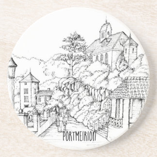 Portmeirion North Wales Pen and Ink Sketch Coaster