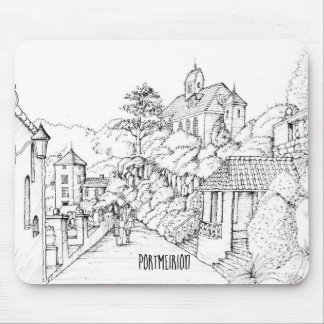 Portmeirion North Wales Pen and Ink Sketch Mouse Pad
