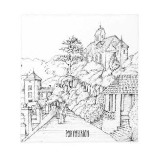Portmeirion North Wales Pen and Ink Sketch Notepad