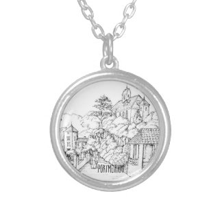 Portmeirion North Wales Pen and Ink Sketch Silver Plated Necklace