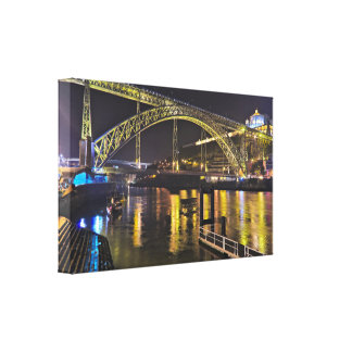 Porto - Portugal. Night Scene Near Douro River Canvas Print