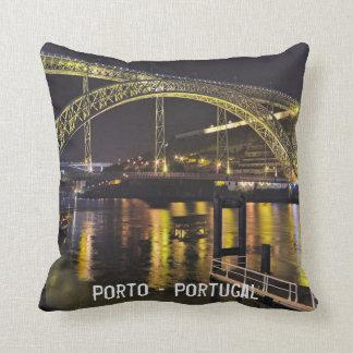 Porto - Portugal. Night Scene Near Douro River Cushion