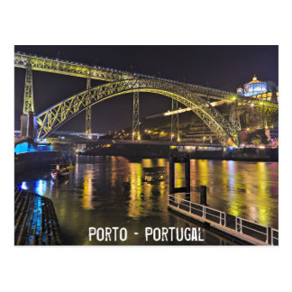 Porto - Portugal. Night Scene Near Douro River Postcard