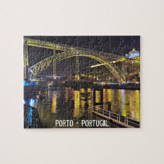 Porto - Portugal. Night Scene Near Douro River Puzzle