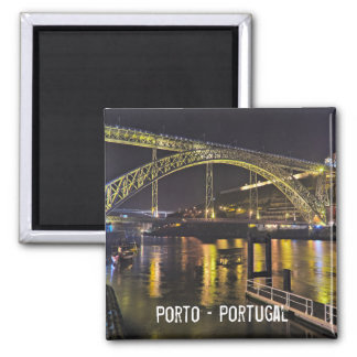 Porto - Portugal. Night Scene Near Douro River Square Magnet