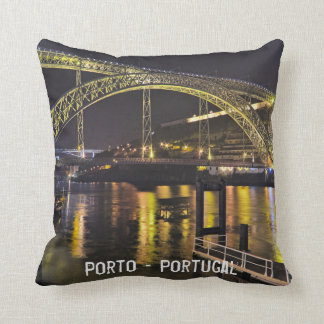 Porto - Portugal. Night Scene Near Douro River Throw Pillow