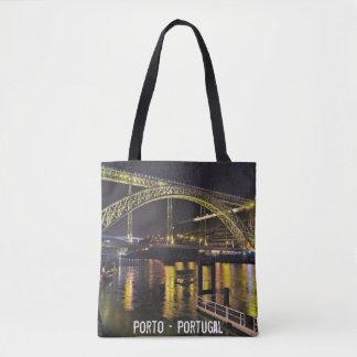 Porto - Portugal. Night Scene Near Douro River Tote Bag