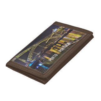 Porto - Portugal. Night Scene Near Douro River Tri-fold Wallet