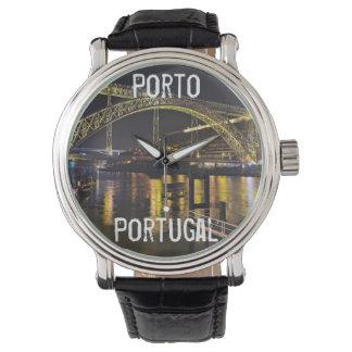 Porto - Portugal. Night Scene Near Douro River Wristwatch
