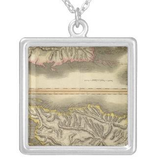 Porto Rico, Virgin Isles, Hispaniola Square Pendant Necklace