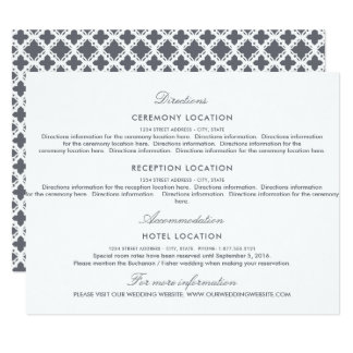 Portofino Blue and Cream Floral Wedding Guest Info Card